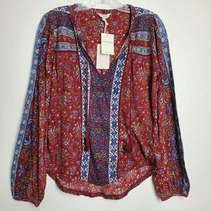 Lucky Brand Beaded Peasant Top Red Multi Size XS